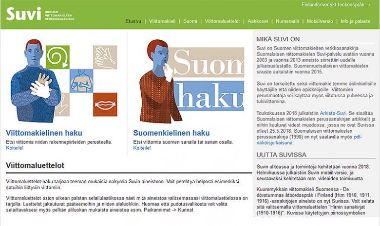 Kuvakaappaus Suvin verkkosivun etusivusta