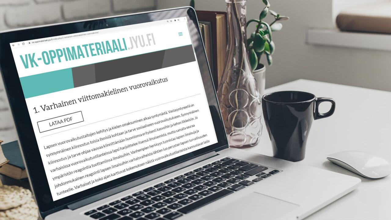 Kannettava tietokone, jonka näytöllä näkyy JYU:n viittomakielen oppimateriaalisivu