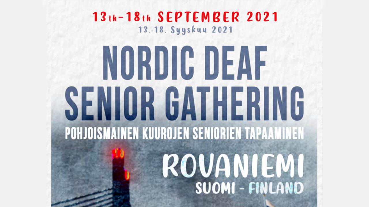 Pohjoismaisen kuurojen seniorien tapaamisen juliste. Kuvassa näkyy pohjoismaiden lippuja sekä poro.