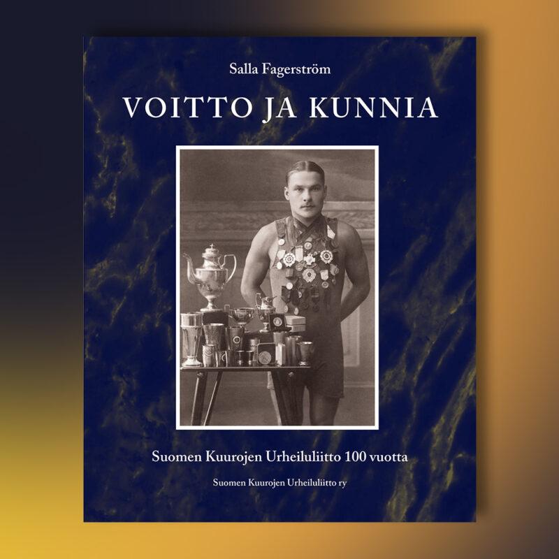 Voitto ja kunnia -kirjan kansikuva. Oskar Wetzell mitaleineen ja pokaaleineen.