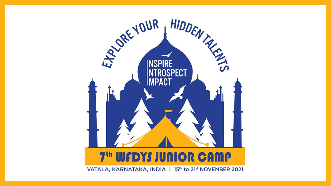 WFDYS Junior Campin logo, jossa Taj Mahalin siluetti ja teksti: Explore your hidden talents. Inspire, Introspect, Impact.