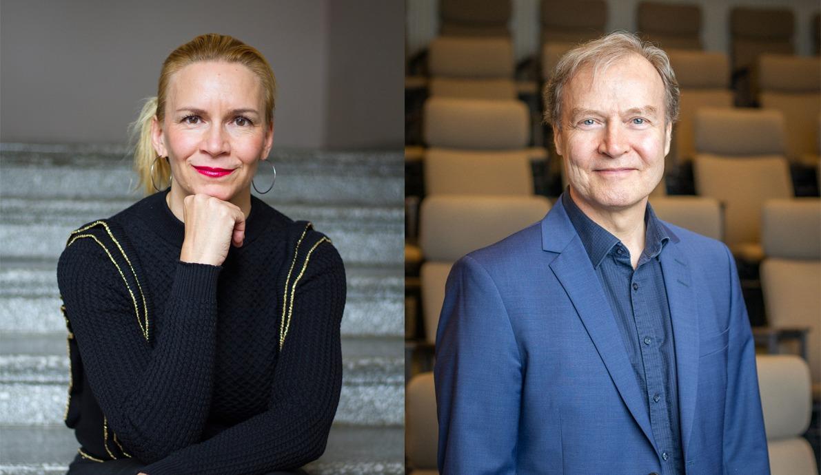 Vasemmalla Kaari Mattilan puolivartalokuva, oikealla Markku Jokisen puolivartalokuva.