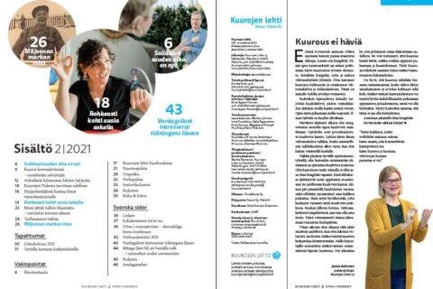 Kuurojen lehden numero 2/2021 sisältösivu